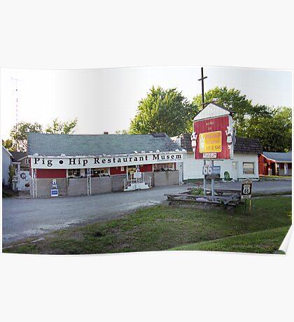 Route 66 - Pig-Hip Restaurant Poster