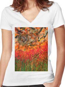 Misty Poppy Field Women's Fitted V-Neck T-Shirt