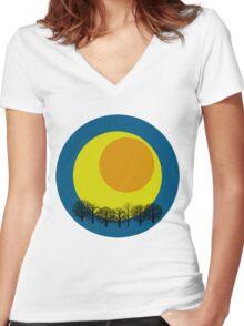 egg moon Women's Fitted V-Neck T-Shirt
