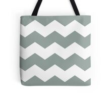 Medium Gray Green Chevron Print Tote Bag