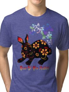 Year Of The Rabbit In Black  Tri-blend T-Shirt