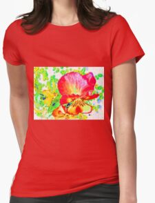 Yellow Garden Pansy Abstract Womens Fitted T-Shirt