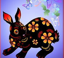 Year Of The Rabbit In Black  by Lotacats