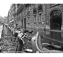 Rain Bikes Photographic Print