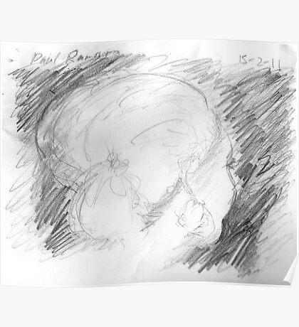 female head on bus -(150211)- graphite pencil sketch/paper Poster