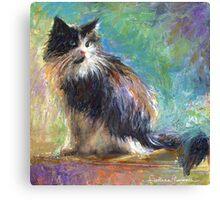 Impressionistic Tuxedo Cat painting Svetlana Novikova Canvas Print
