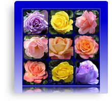 Nine Roses Collage Canvas Print