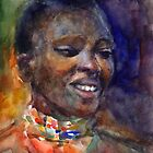 Ethnic woman watercolor portrait Svetlana Novikova by Svetlana  Novikova