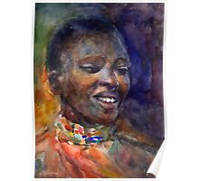 Ethnic woman watercolor portrait Svetlana Novikova Poster