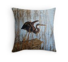 Great Blue Heron Blending In Throw Pillow