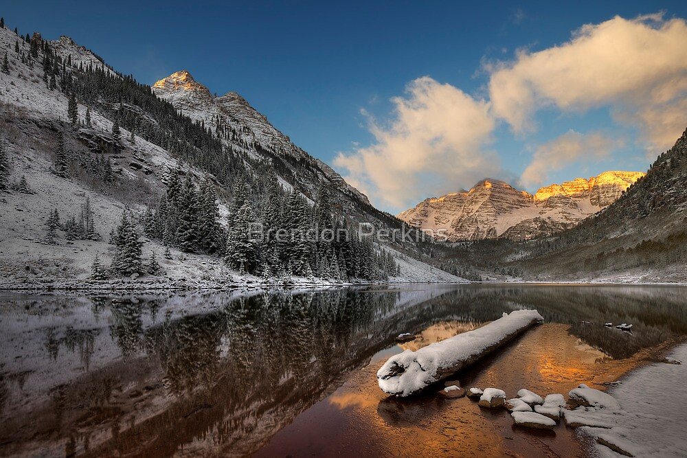 Maroon Bells at Sunrise (Aspen, Colorado) by Brendon Perkins