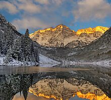 Maroon Bells at Sunrise (Aspen, Colorado) by Brendon Perkins