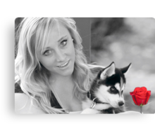 Beauty,Beast and the Red Rose Canvas Print