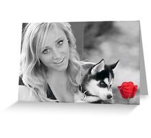 Beauty,Beast and the Red Rose Greeting Card