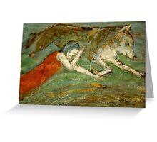 Girl & wolf Greeting Card