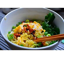 Noodles with eggs and chinese broccoli Photographic Print