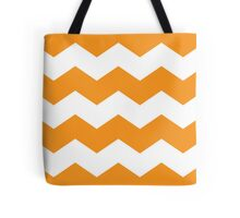 Orange and White Chevron Print Tote Bag