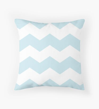 Palest Blue Chevron Print Throw Pillow