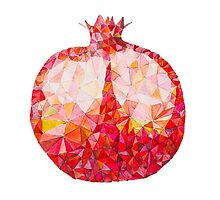 Low Poly Watercolor Pomegranate by LidiaP