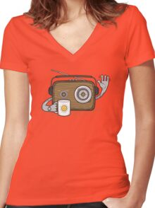 Radio Waves Good Morning Women's Fitted V-Neck T-Shirt