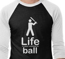 Ball v Life - White Graphic Men's Baseball ¾ T-Shirt