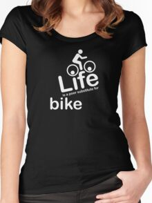 Bike v Life - White Graphic Women's Fitted Scoop T-Shirt