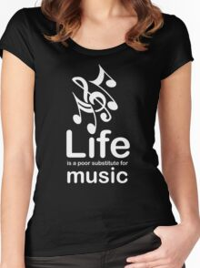 Music v Life - White Graphic Women's Fitted Scoop T-Shirt