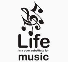 Music v Life - Black Graphic Kids Clothes