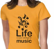 Music v Life - Black Graphic Womens Fitted T-Shirt