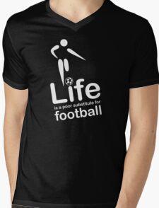 Soccer v Life - White Graphic Mens V-Neck T-Shirt