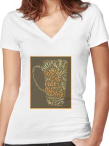 Coffee Lovers Word Cloud Women's Fitted V-Neck T-Shirt