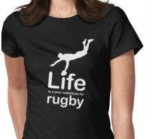 Rugby v Life - White Graphic Womens Fitted T-Shirt