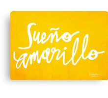 Nairo Quintana : Sueno Amarillo / Yellow Dream in White Lettering Canvas Print