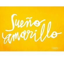 Nairo Quintana : Sueno Amarillo / Yellow Dream in White Lettering Photographic Print