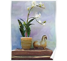 Chinese Horse with White Orchids Poster