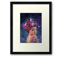 Fantasy Woman and red flowers , fashion portrait Framed Print