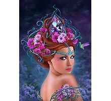 Fantasy Woman and red flowers , fashion portrait Photographic Print