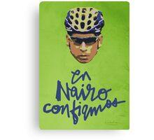 En Nairo Confiamos / In Nairo We Trust (Spanish) : Illustration on Movistar Green Canvas Print