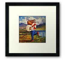 Bodhran player in  impasto  landscape   Framed Print