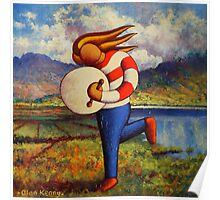 Bodhran player in  impasto  landscape   Poster
