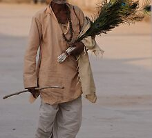 Peacock feather salesman, Rajasthan by Christopher Cullen