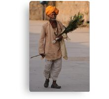 Peacock feather salesman, Rajasthan Canvas Print