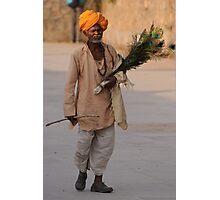 Peacock feather salesman, Rajasthan Photographic Print