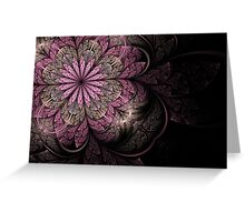 Pink and Black Flower Greeting Card