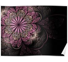 Pink and Black Flower Poster