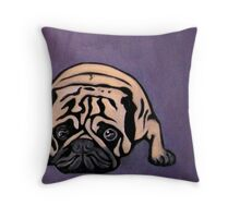 Purple Pug Throw Pillow