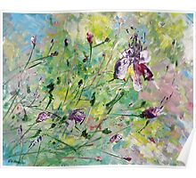 Original Acrylic Painting, Abstract Spring Flowers Pink and Yellow Poster
