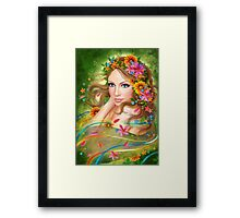 Fantasy Beautiful fairy woman with summer flowers. nature. fashion portrait  Framed Print