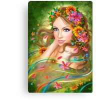 Fantasy Beautiful fairy woman with summer flowers. nature. fashion portrait  Canvas Print