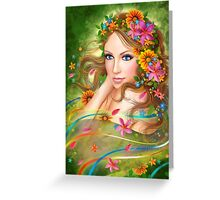 Fantasy Beautiful fairy woman with summer flowers. nature. fashion portrait  Greeting Card
